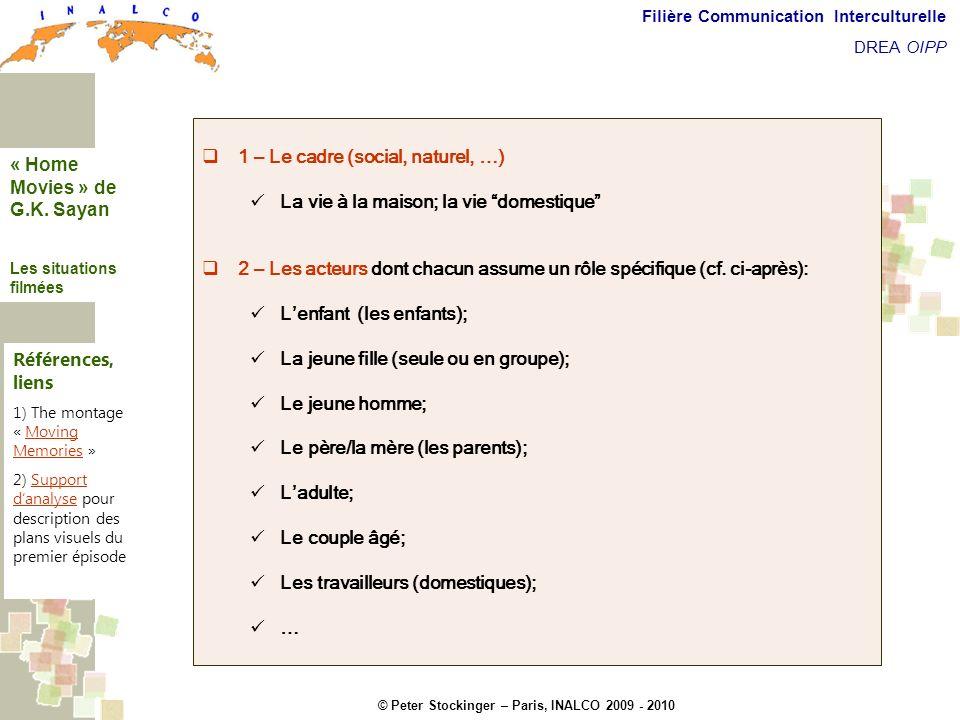 © Peter Stockinger – Paris, INALCO 2009 - 2010 Filière Communication Interculturelle DREA OIPP Les situations filmées 1 – Le cadre (social, naturel, …
