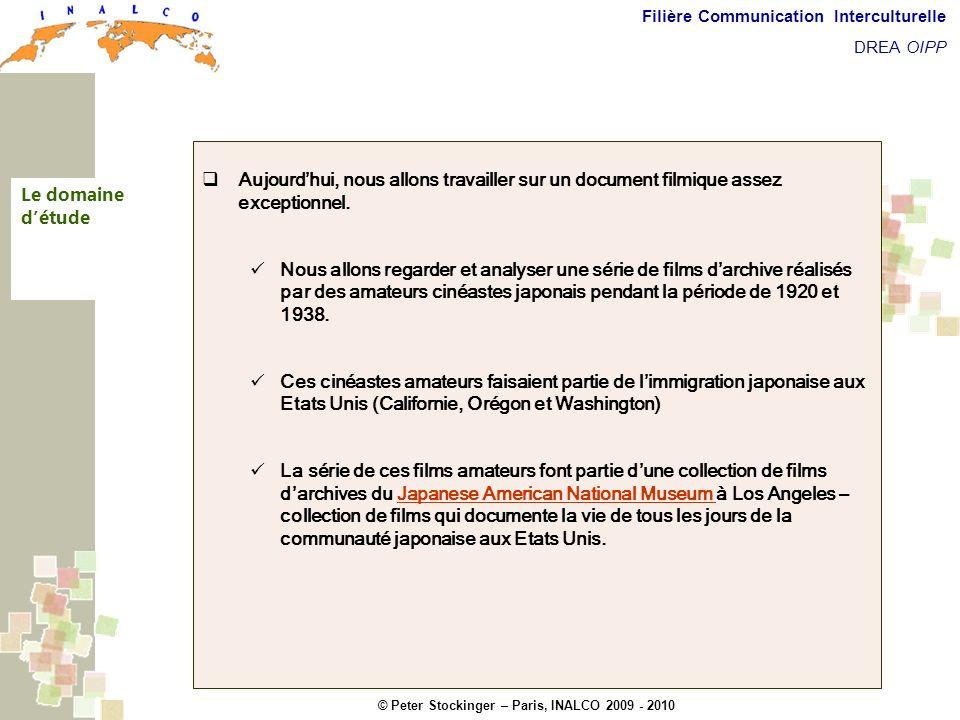 © Peter Stockinger – Paris, INALCO 2009 - 2010 Filière Communication Interculturelle DREA OIPP Les situations filmées - Les situations filmées (objets, gens, activités, …) -