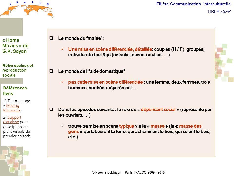 © Peter Stockinger – Paris, INALCO 2009 - 2010 Filière Communication Interculturelle DREA OIPP Roles sociaux Le monde du maître