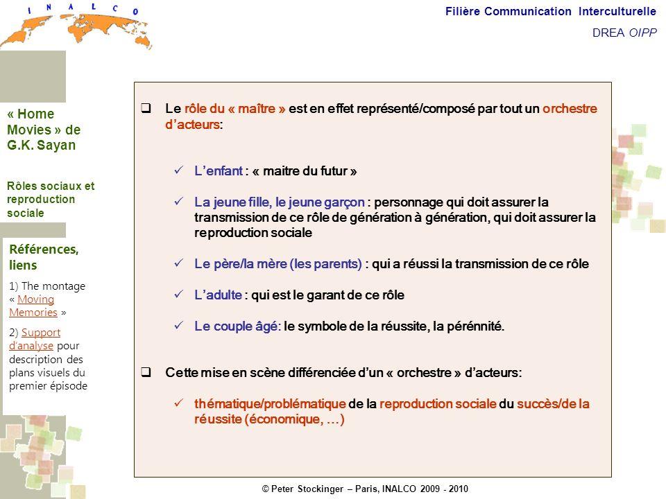 © Peter Stockinger – Paris, INALCO 2009 - 2010 Filière Communication Interculturelle DREA OIPP Roles sociaux Le rôle du « maître » est en effet représ