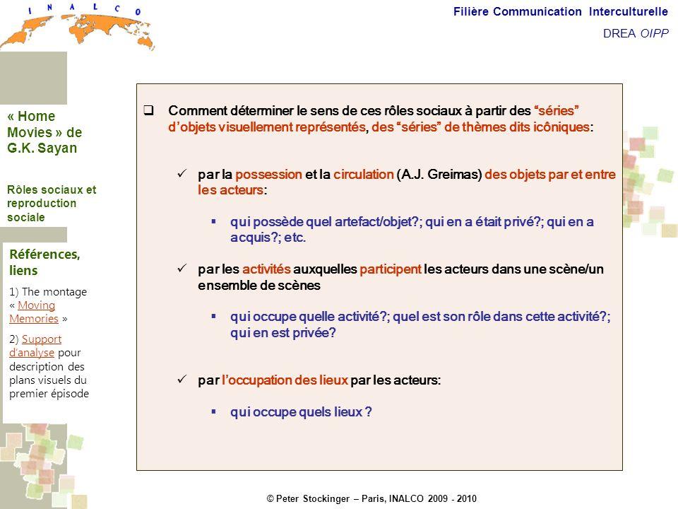 © Peter Stockinger – Paris, INALCO 2009 - 2010 Filière Communication Interculturelle DREA OIPP Roles sociaux Comment déterminer le sens de ces rôles s