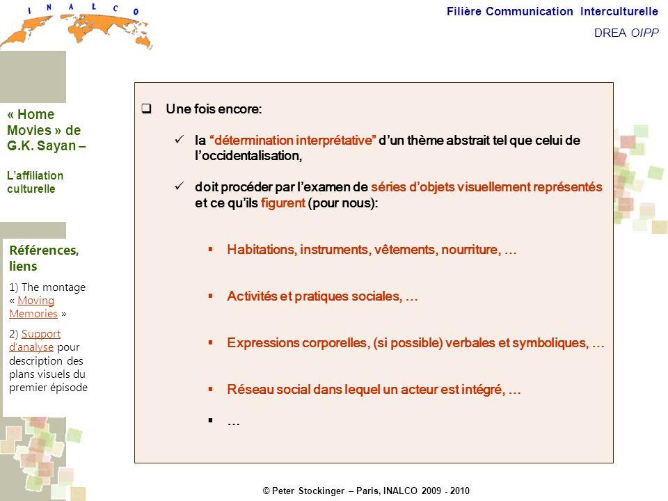 © Peter Stockinger – Paris, INALCO 2009 - 2010 Filière Communication Interculturelle DREA OIPP Laffiliation culturelle Une fois encore: la déterminati