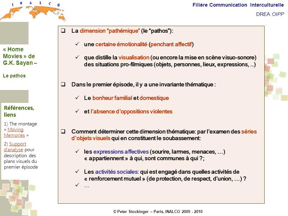 © Peter Stockinger – Paris, INALCO 2009 - 2010 Filière Communication Interculturelle DREA OIPP La dimension pathémique La dimension pathémique (le pat