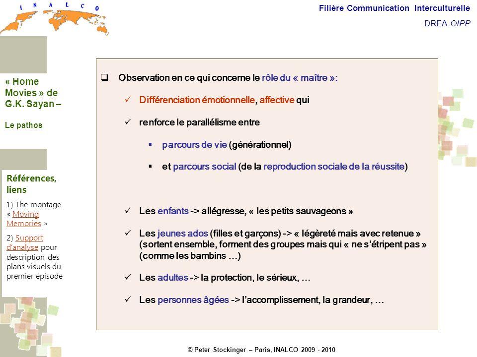© Peter Stockinger – Paris, INALCO 2009 - 2010 Filière Communication Interculturelle DREA OIPP La dimension pathémique Observation en ce qui concerne