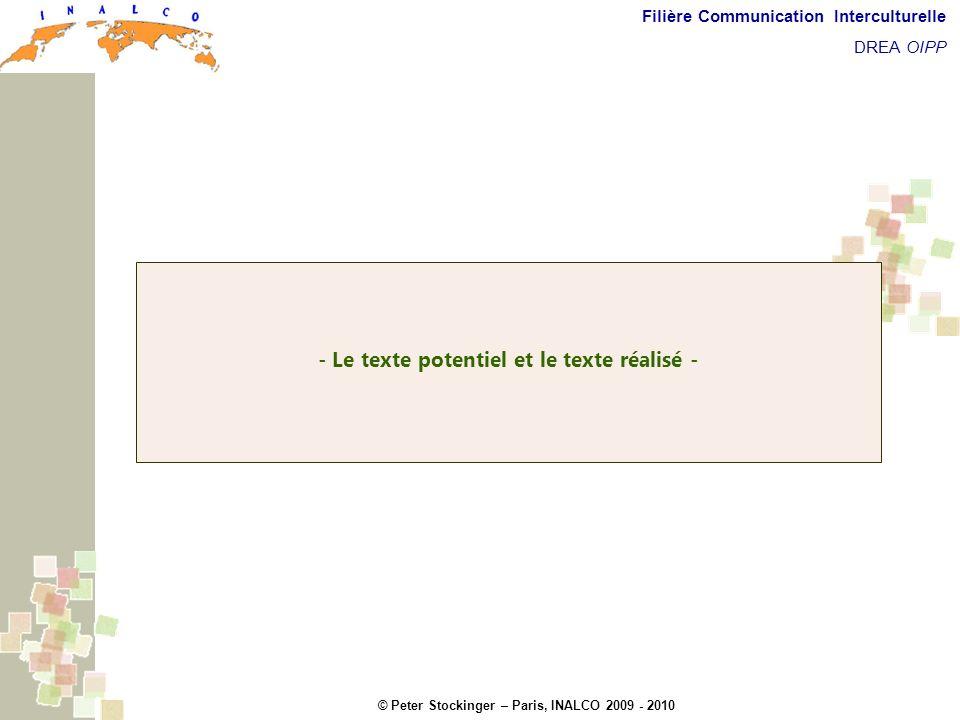 © Peter Stockinger – Paris, INALCO 2009 - 2010 Filière Communication Interculturelle DREA OIPP Texte potentiel et texte réalisé - Le texte potentiel e