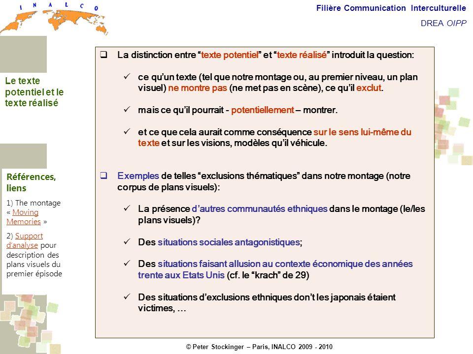 © Peter Stockinger – Paris, INALCO 2009 - 2010 Filière Communication Interculturelle DREA OIPP Texte potentiel et texte réalisé La distinction entre t