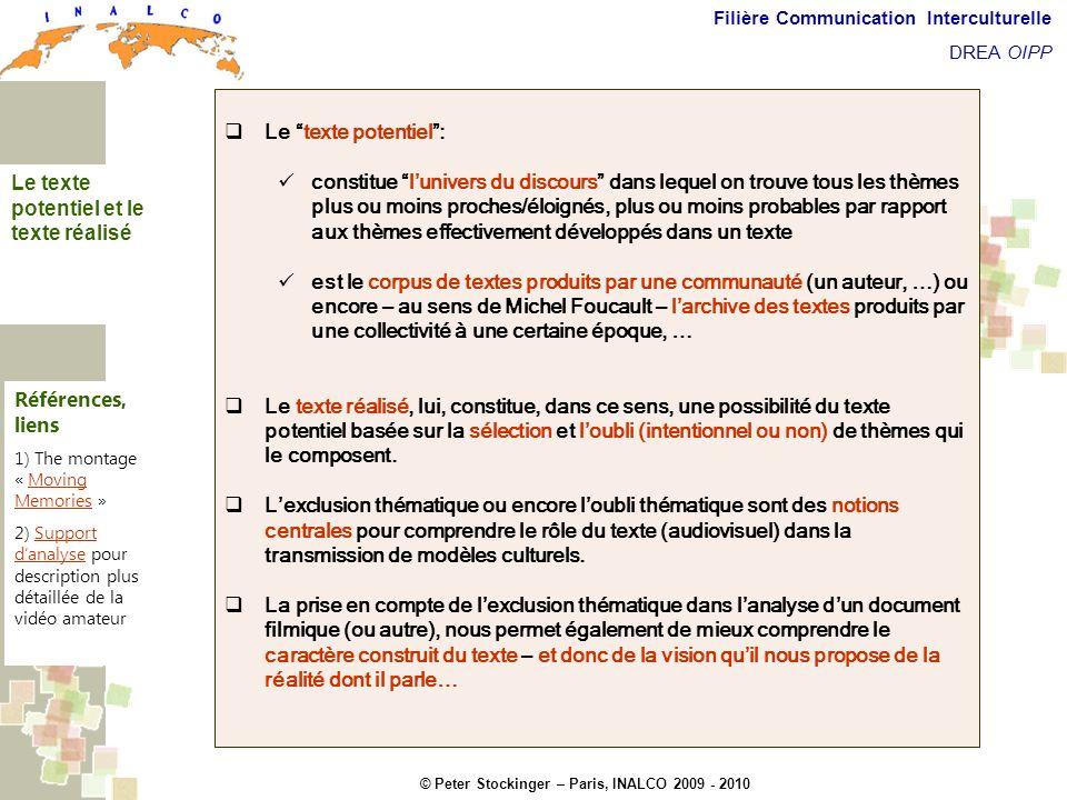 © Peter Stockinger – Paris, INALCO 2009 - 2010 Filière Communication Interculturelle DREA OIPP Texte potentiel et texte réalisé Le texte potentiel: co