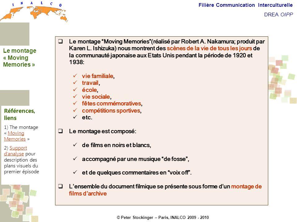 © Peter Stockinger – Paris, INALCO 2009 - 2010 Filière Communication Interculturelle DREA OIPP Commentaires introductifs Lensemble du montage Moving Memories est composé de huit épisodes principaux + 2 séquences dites paratextuelles Générique (séquence paratextuelle).