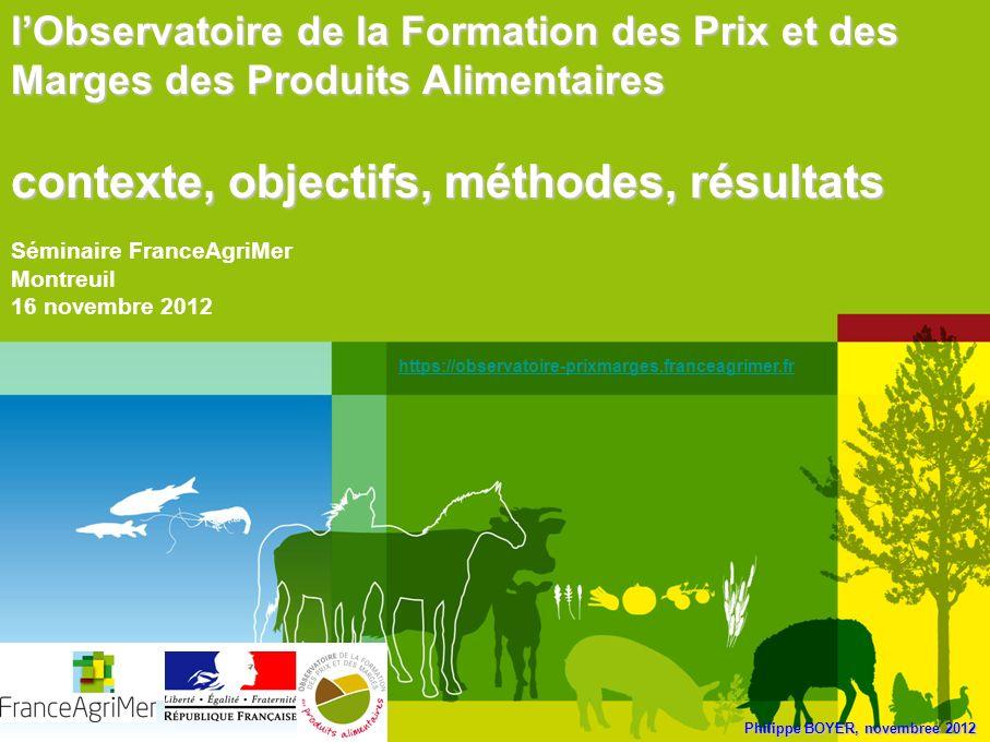 Philippe BOYER, novembree 2012 lObservatoire de la Formation des Prix et des Marges des Produits Alimentaires contexte, objectifs, méthodes, résultats