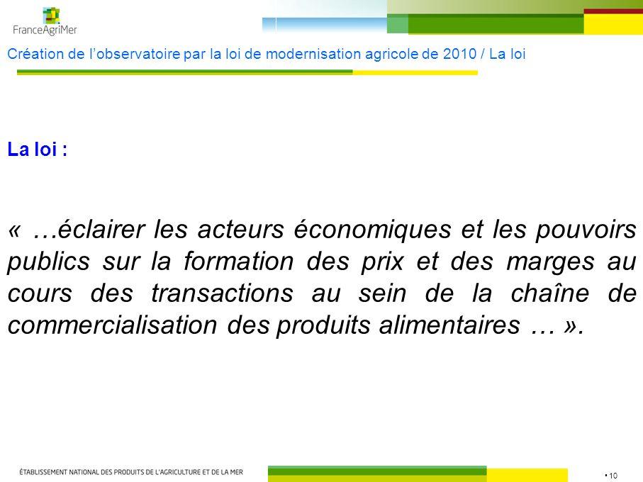 10 Création de lobservatoire par la loi de modernisation agricole de 2010 / La loi « …éclairer les acteurs économiques et les pouvoirs publics sur la