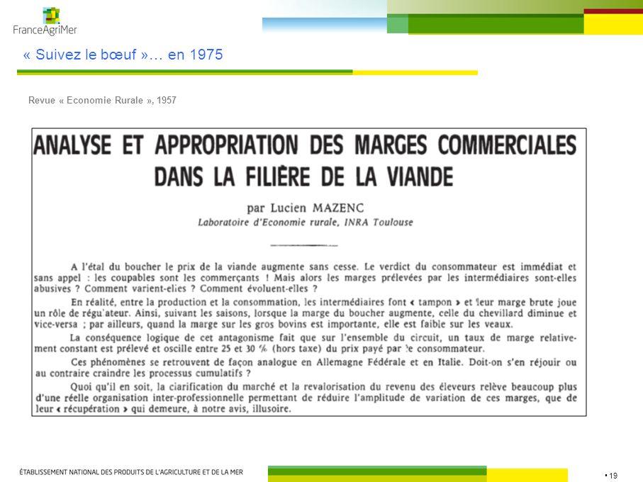 19 « Suivez le bœuf »… en 1975 Revue « Economie Rurale », 1957