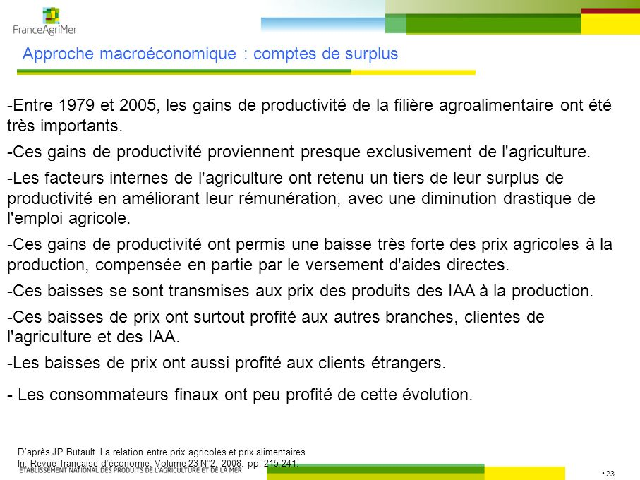 23 Approche macroéconomique : comptes de surplus Daprès JP Butault La relation entre prix agricoles et prix alimentaires In: Revue française d'économi