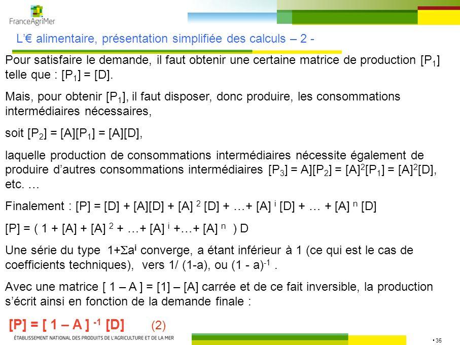 35 L alimentaire, présentation simplifiée des calculs – 2 - Pour satisfaire le demande, il faut obtenir une certaine matrice de production [P 1 ] tell