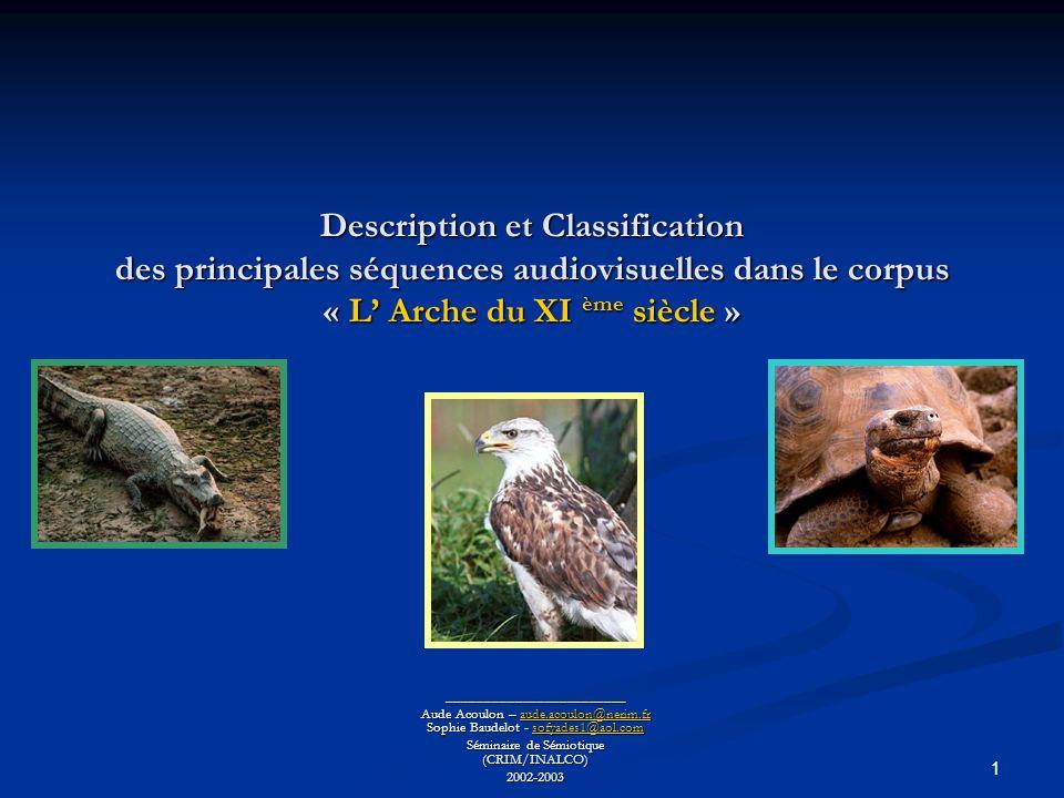 1 Description et Classification des principales séquences audiovisuelles dans le corpus « L Arche du XI ème siècle » ________________________ Aude Acoulon – aude.acoulon@nerim.fr Sophie Baudelot - sofyades1@aol.com aude.acoulon@nerim.frsofyades1@aol.comaude.acoulon@nerim.frsofyades1@aol.com Séminaire de Sémiotique (CRIM/INALCO) 2002-2003