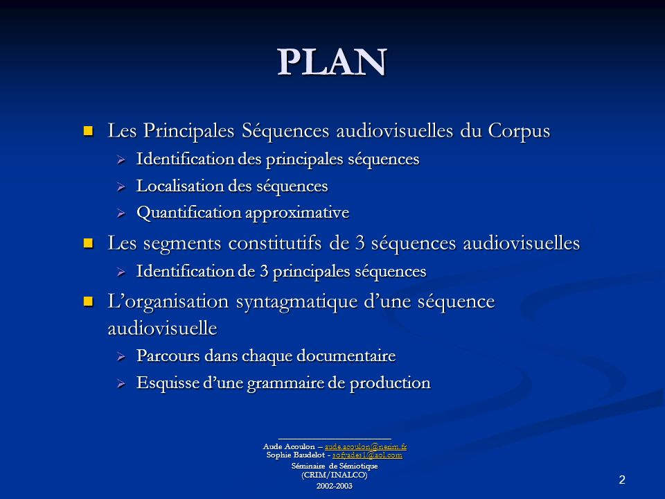 13 Adaptation à lenvironnement : un physique parfait Adaptation à lenvironnement : un physique parfait ________________________ Aude Acoulon – aude.acoulon@nerim.fr Sophie Baudelot - sofyades1@aol.com aude.acoulon@nerim.frsofyades1@aol.comaude.acoulon@nerim.frsofyades1@aol.com Séminaire de Sémiotique (CRIM/INALCO) 2002-2003 Les segments constitutifs de 3 séquences audiovisuelles (2/3) Rapaces Tortues Crocodiles 1L acuité visuelle et le puissance des serres, une association sans faille chez les rapaces 2 Les rapaces, le bec et les serres, l efficacité redoutable des rapaces 3 Le profil aérodynamique des rapaces 4 L odorat très développé de l urubu 5 Le cou des tortues des Galápagos 6 La carapace des tortues, une protection 7 La mâchoire puissante du crocodile 8 La peau du crocodile 9 Les yeux du crocodile, un atout pour la chasse à laffût est un élément de