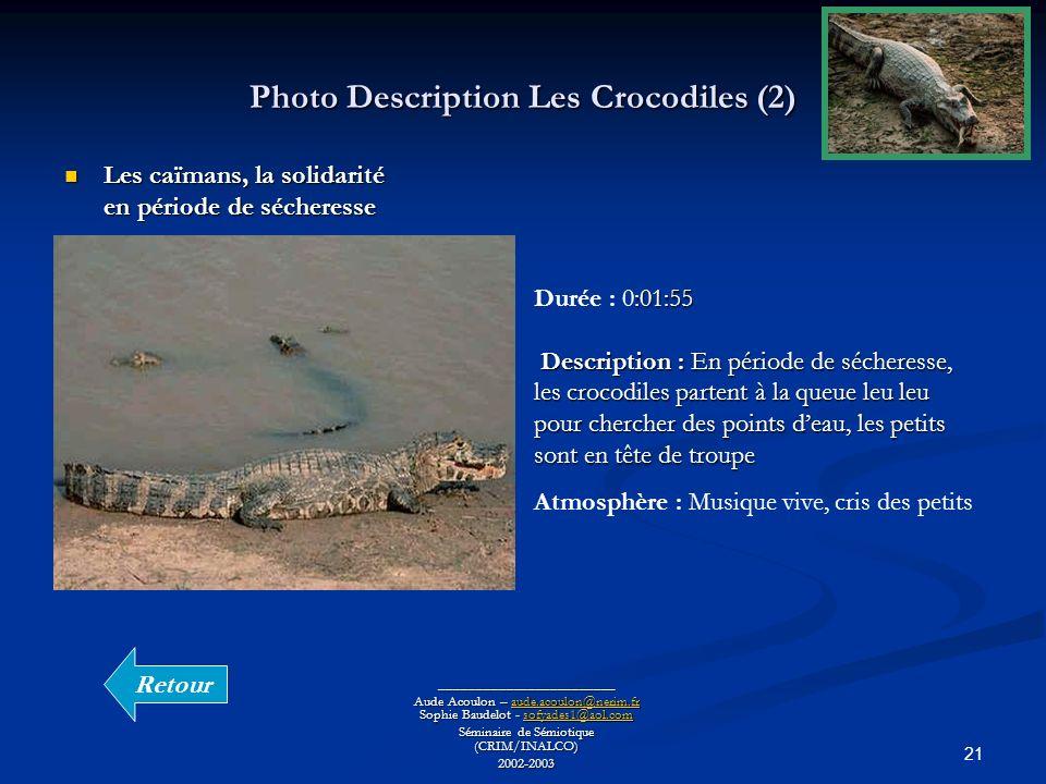 21 Photo Description Les Crocodiles (2) ________________________ Aude Acoulon – aude.acoulon@nerim.fr Sophie Baudelot - sofyades1@aol.com aude.acoulon@nerim.frsofyades1@aol.comaude.acoulon@nerim.frsofyades1@aol.com Séminaire de Sémiotique (CRIM/INALCO) 2002-2003 Les caïmans, la solidarité en période de sécheresse Les caïmans, la solidarité en période de sécheresse :01:55 Description : En période de sécheresse, les crocodiles partent à la queue leu leu pour chercher des points deau, les petits sont en tête de troupe Durée : 0:01:55 Description : En période de sécheresse, les crocodiles partent à la queue leu leu pour chercher des points deau, les petits sont en tête de troupe Atmosphère : Musique vive, cris des petits Retour