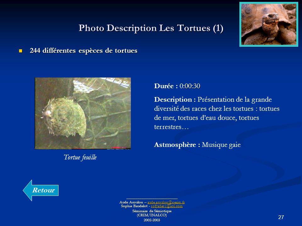 27 Photo Description Les Tortues (1) ________________________ Aude Acoulon – aude.acoulon@nerim.fr Sophie Baudelot - sofyades1@aol.com aude.acoulon@ne