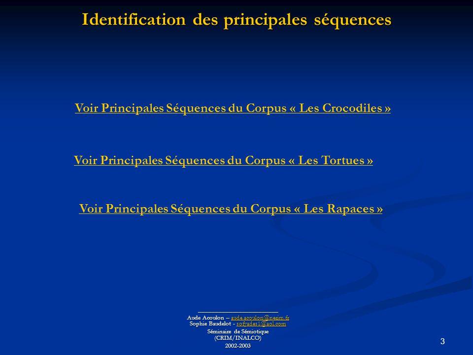 3 Identification des principales séquences ________________________ Aude Acoulon – aude.acoulon@nerim.fr Sophie Baudelot - sofyades1@aol.com aude.acoulon@nerim.frsofyades1@aol.comaude.acoulon@nerim.frsofyades1@aol.com Séminaire de Sémiotique (CRIM/INALCO) 2002-2003 Voir Principales Séquences du Corpus « Les Crocodiles » Voir Principales Séquences du Corpus « Les Tortues » Voir Principales Séquences du Corpus « Les Rapaces »