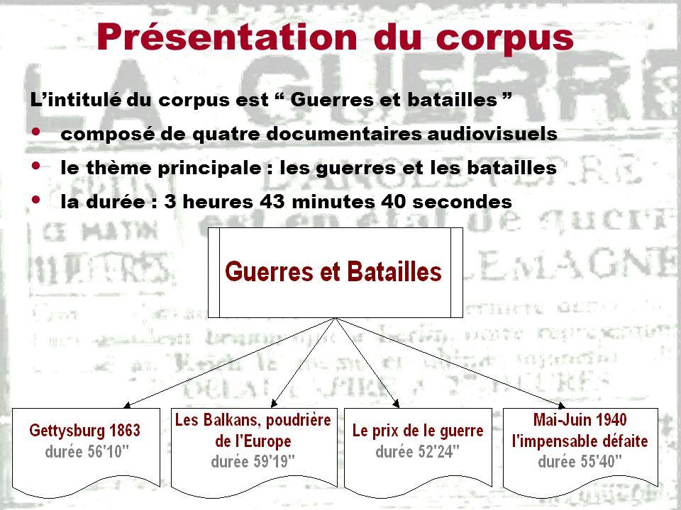Présentation du corpus Lintitulé du corpus est Guerres et batailles composé de quatre documentaires audiovisuels le thème principale : les guerres et