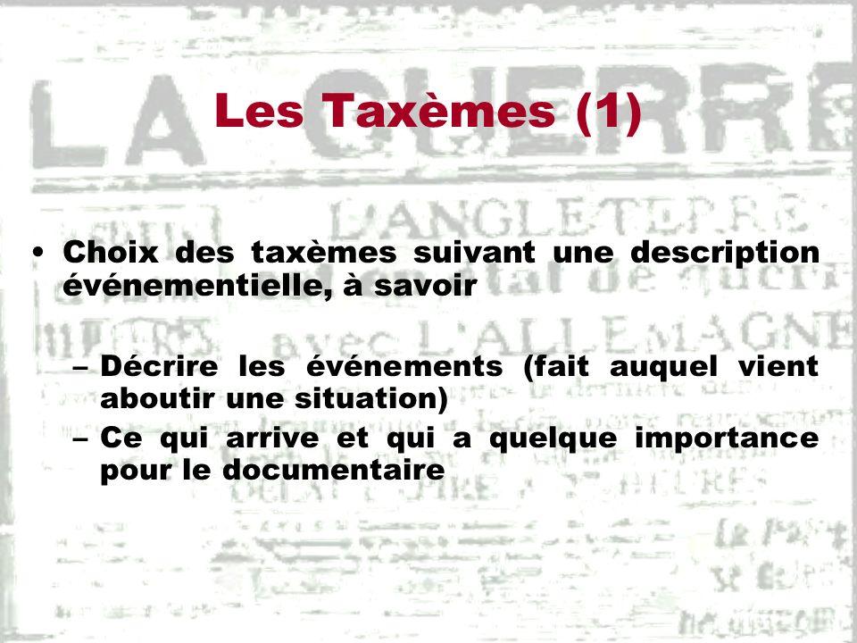 Les Taxèmes (1) Choix des taxèmes suivant une description événementielle, à savoir –Décrire les événements (fait auquel vient aboutir une situation) –