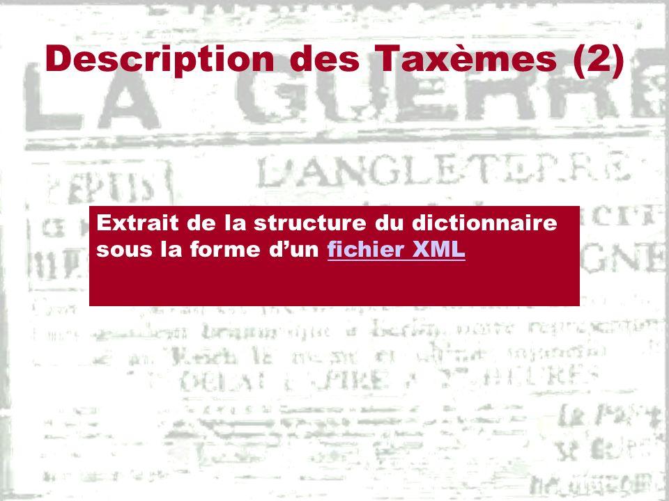 Description des Taxèmes (3)