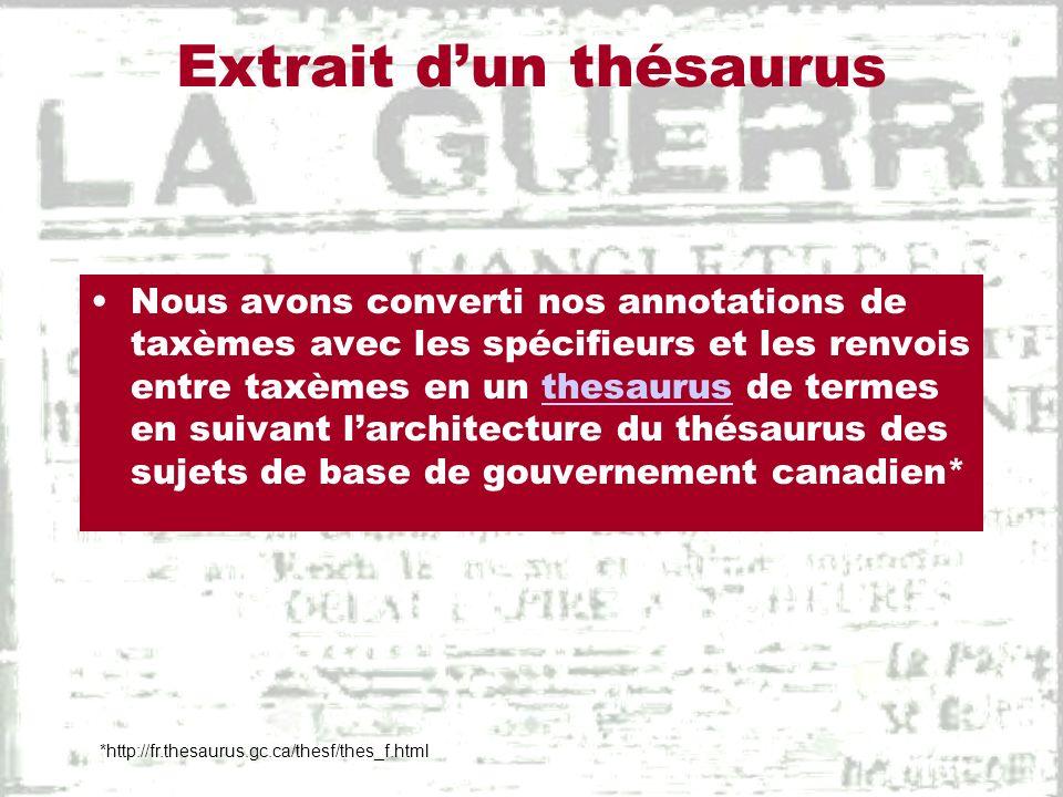 Extrait dun thésaurus Nous avons converti nos annotations de taxèmes avec les spécifieurs et les renvois entre taxèmes en un thesaurus de termes en su