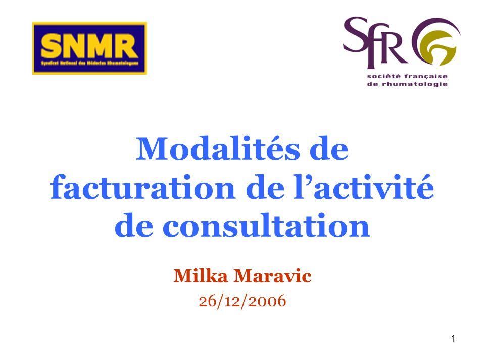 1 Modalités de facturation de lactivité de consultation Milka Maravic 26/12/2006