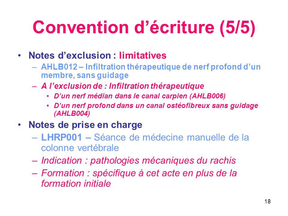 18 Convention décriture (5/5) Notes dexclusion : limitatives –AHLB012 – Infiltration thérapeutique de nerf profond dun membre, sans guidage –A lexclus