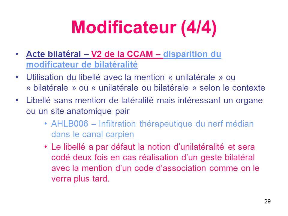29 Modificateur (4/4) Acte bilatéral – V2 de la CCAM – disparition du modificateur de bilatéralité Utilisation du libellé avec la mention « unilatéral