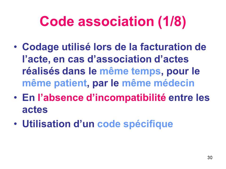 30 Code association (1/8) Codage utilisé lors de la facturation de lacte, en cas dassociation dactes réalisés dans le même temps, pour le même patient