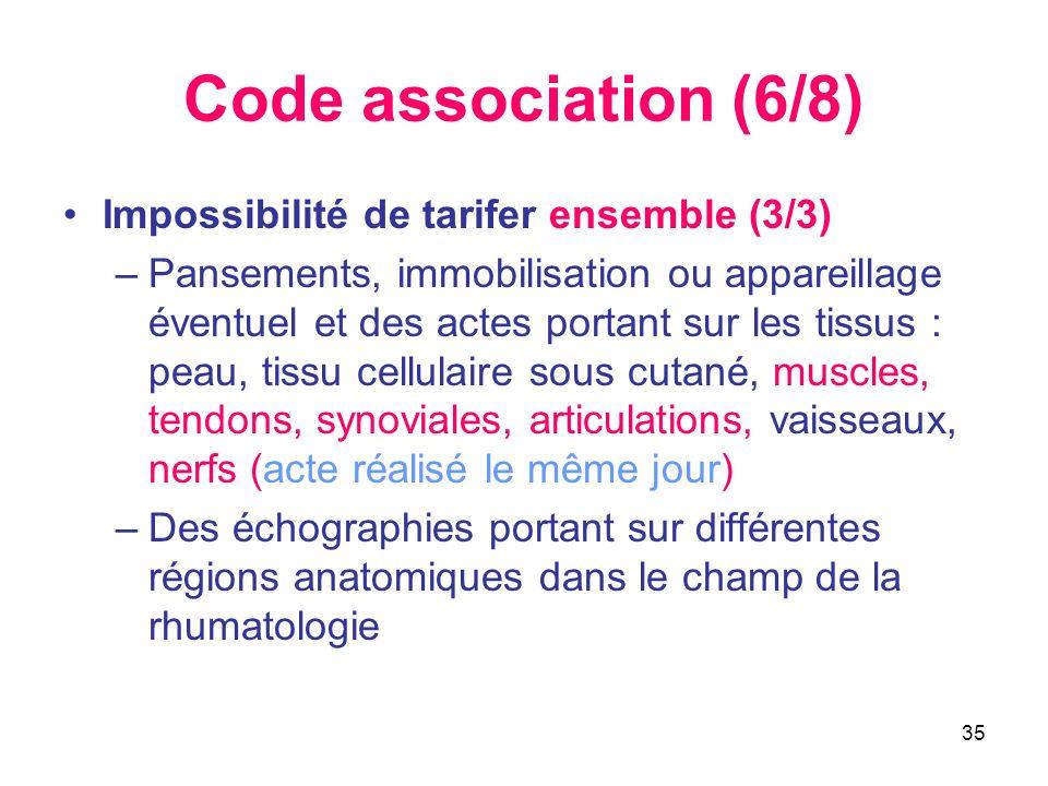 35 Code association (6/8) Impossibilité de tarifer ensemble (3/3) –Pansements, immobilisation ou appareillage éventuel et des actes portant sur les ti