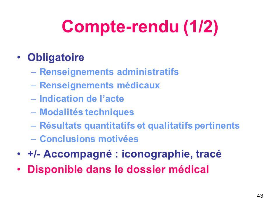43 Compte-rendu (1/2) Obligatoire –Renseignements administratifs –Renseignements médicaux –Indication de lacte –Modalités techniques –Résultats quanti