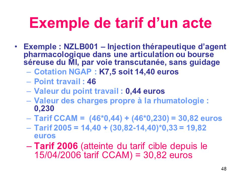 48 Exemple de tarif dun acte Exemple : NZLB001 – Injection thérapeutique dagent pharmacologique dans une articulation ou bourse séreuse du MI, par voi