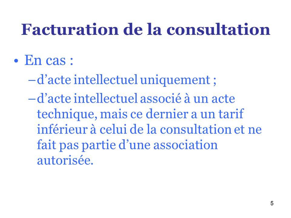 5 Facturation de la consultation En cas : –dacte intellectuel uniquement ; –dacte intellectuel associé à un acte technique, mais ce dernier a un tarif