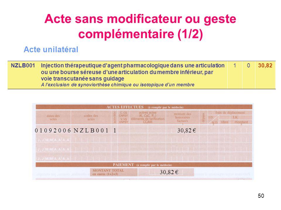 50 0 1 0 9 2 0 0 6 N Z L B 0 0 1 1 30,82 30,82 NZLB001Injection thérapeutique d'agent pharmacologique dans une articulation ou une bourse séreuse dune