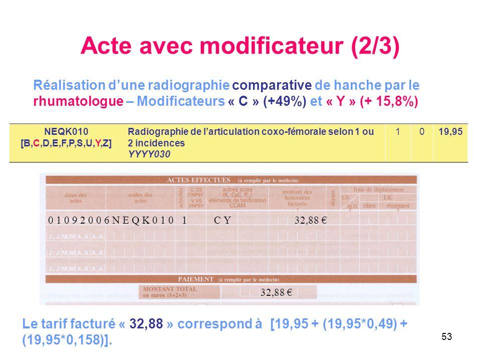 53 Acte avec modificateur (2/3) NEQK010 [B,C,D,E,F,P,S,U,Y,Z] Radiographie de larticulation coxo-fémorale selon 1 ou 2 incidences YYYY030 1019,95 Réal