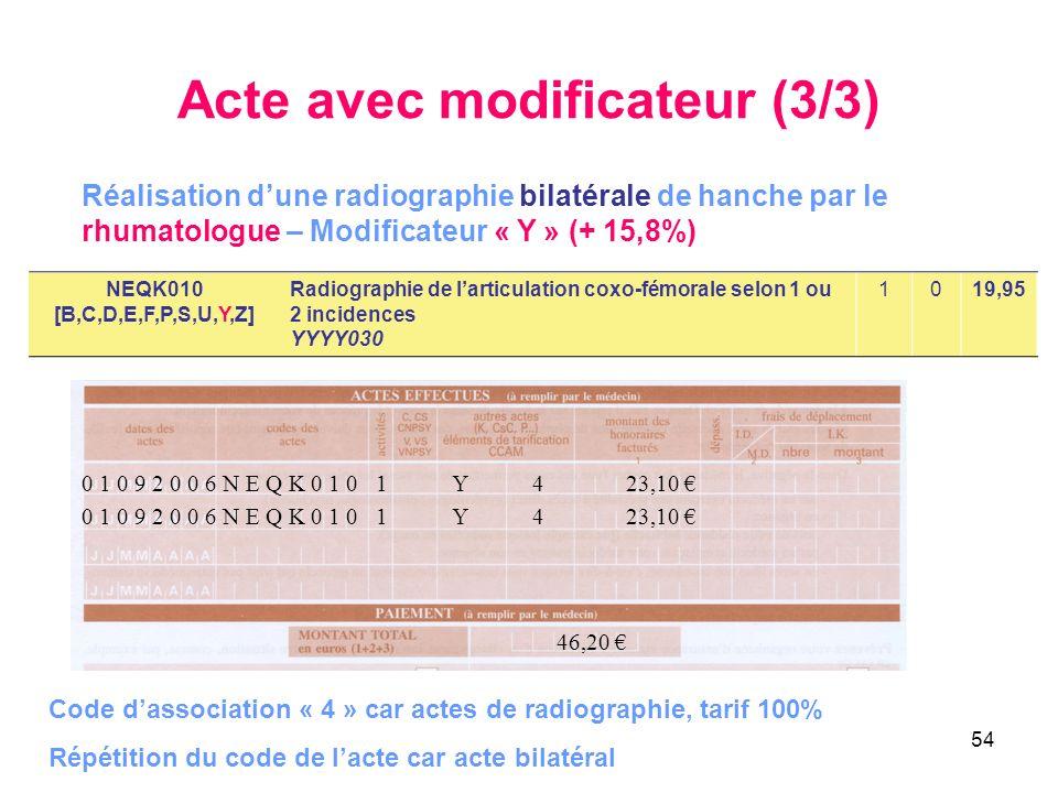 54 Acte avec modificateur (3/3) NEQK010 [B,C,D,E,F,P,S,U,Y,Z] Radiographie de larticulation coxo-fémorale selon 1 ou 2 incidences YYYY030 1019,95 Réal