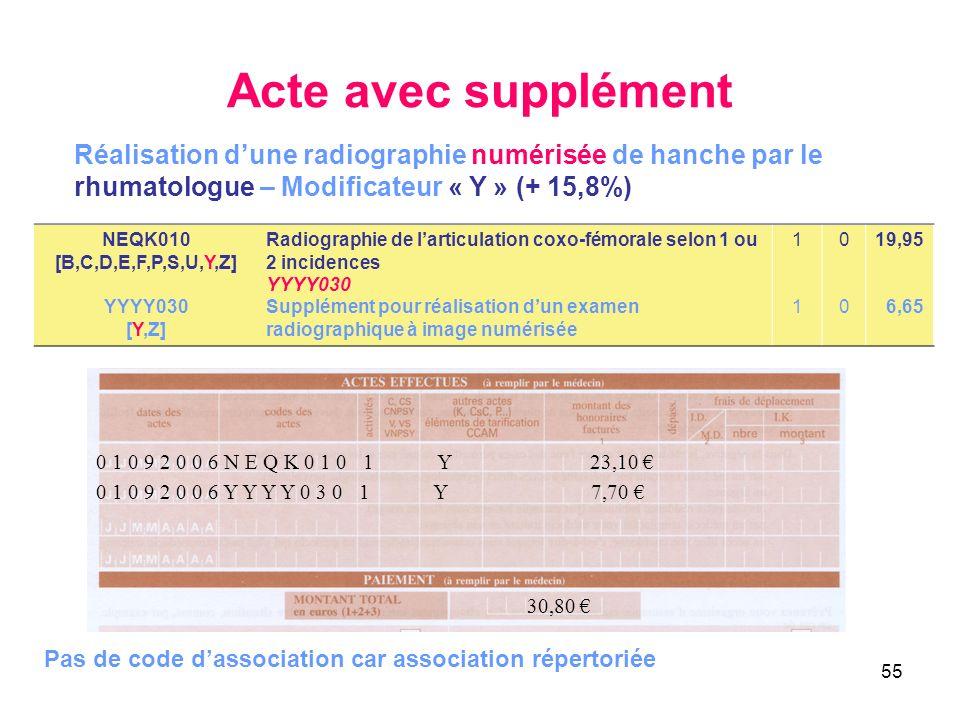 55 Acte avec supplément NEQK010 [B,C,D,E,F,P,S,U,Y,Z] YYYY030 [Y,Z] Radiographie de larticulation coxo-fémorale selon 1 ou 2 incidences YYYY030 Supplé
