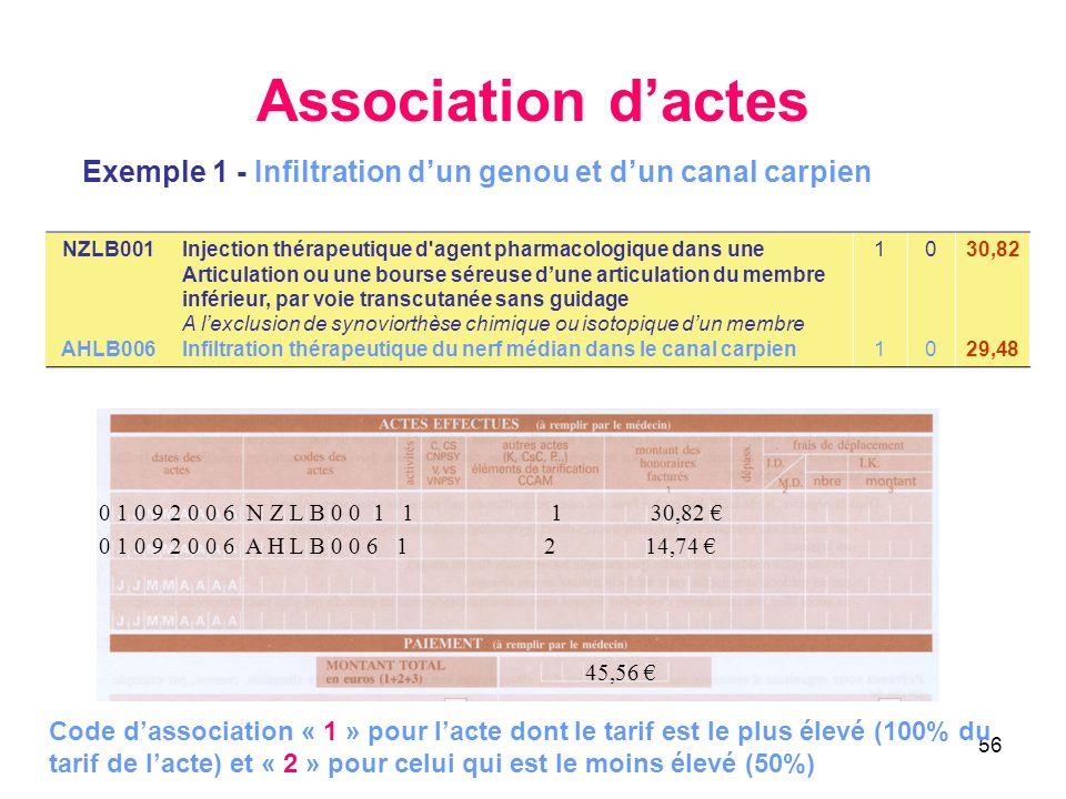 56 Association dactes Exemple 1 - Infiltration dun genou et dun canal carpien 0 1 0 9 2 0 0 6 A H L B 0 0 6 1 2 14,74 45,56 0 1 0 9 2 0 0 6 N Z L B 0