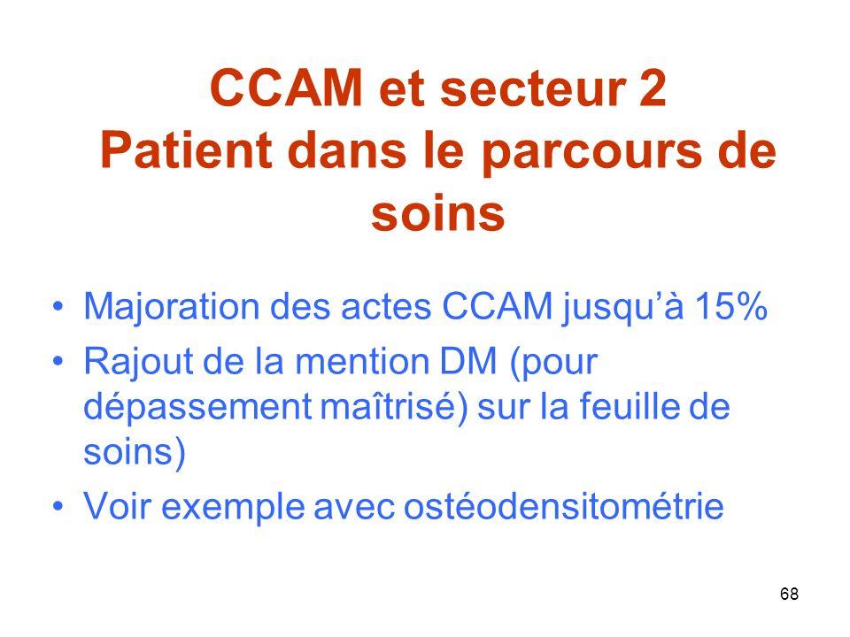 68 CCAM et secteur 2 Patient dans le parcours de soins Majoration des actes CCAM jusquà 15% Rajout de la mention DM (pour dépassement maîtrisé) sur la