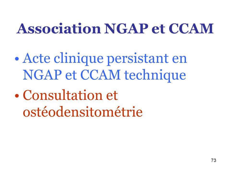 73 Association NGAP et CCAM Acte clinique persistant en NGAP et CCAM technique Consultation et ostéodensitométrie