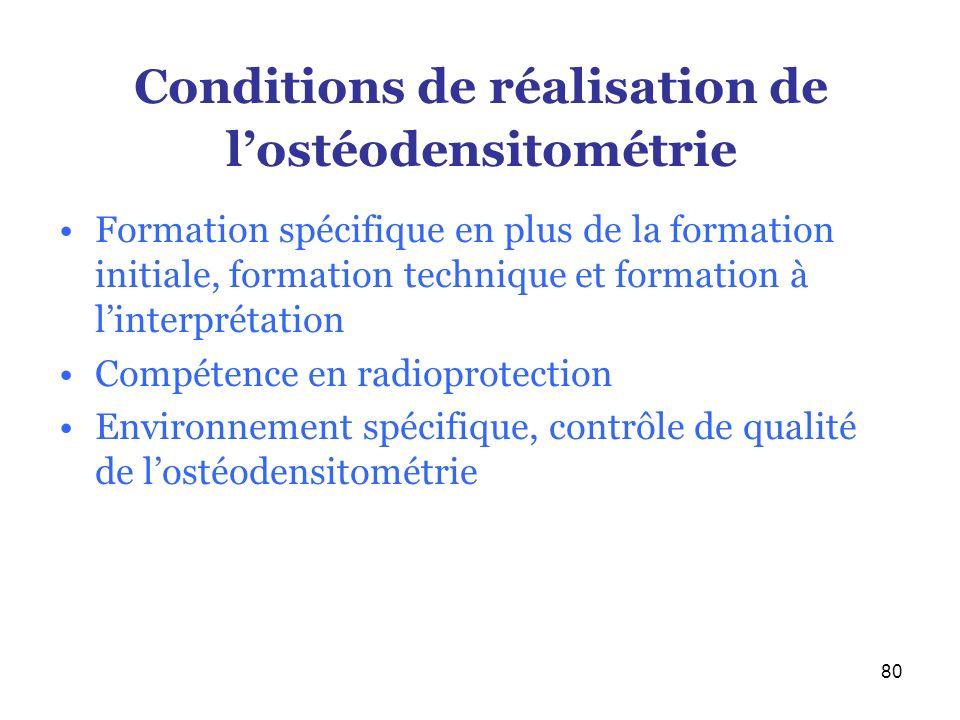 80 Conditions de réalisation de lostéodensitométrie Formation spécifique en plus de la formation initiale, formation technique et formation à linterpr