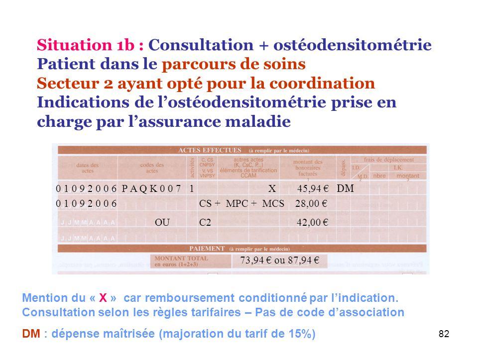 82 0 1 0 9 2 0 0 6 P A Q K 0 0 7 1 X 45,94 DM 73,94 ou 87,94 Situation 1b : Consultation + ostéodensitométrie Patient dans le parcours de soins Secteu
