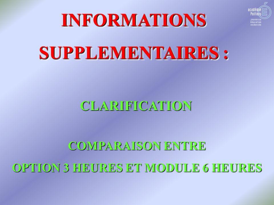 INFORMATIONS SUPPLEMENTAIRES : INFORMATIONS CLARIFICATION COMPARAISON ENTRE OPTION 3 HEURES ET MODULE 6 HEURES