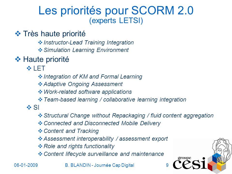 06-01-2009B. BLANDIN - Journée Cap Digital9 Les priorités pour SCORM 2.0 (experts LETSI) Très haute priorité Instructor-Lead Training Integration Simu