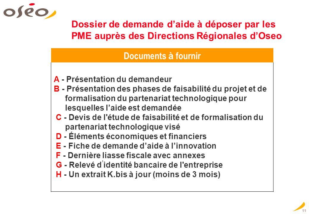 11 Dossier de demande daide à déposer par les PME auprès des Directions Régionales dOseo Documents à fournir A - Présentation du demandeur B - Présent