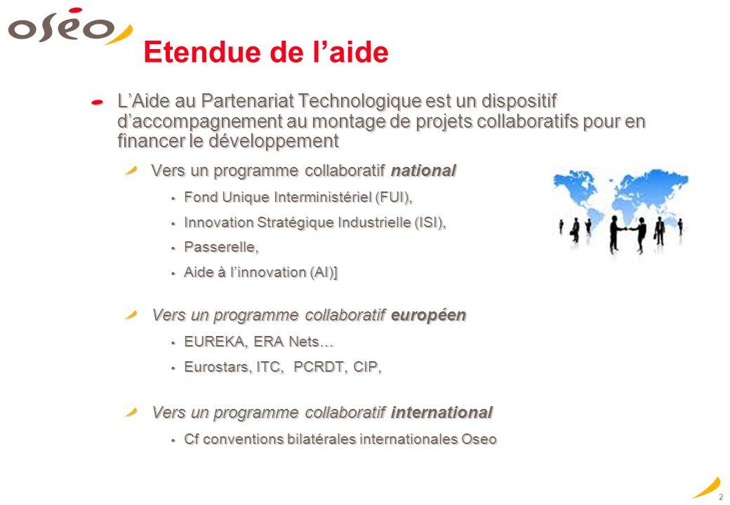 2 Etendue de laide LAide au Partenariat Technologique est un dispositif daccompagnement au montage de projets collaboratifs pour en financer le dévelo