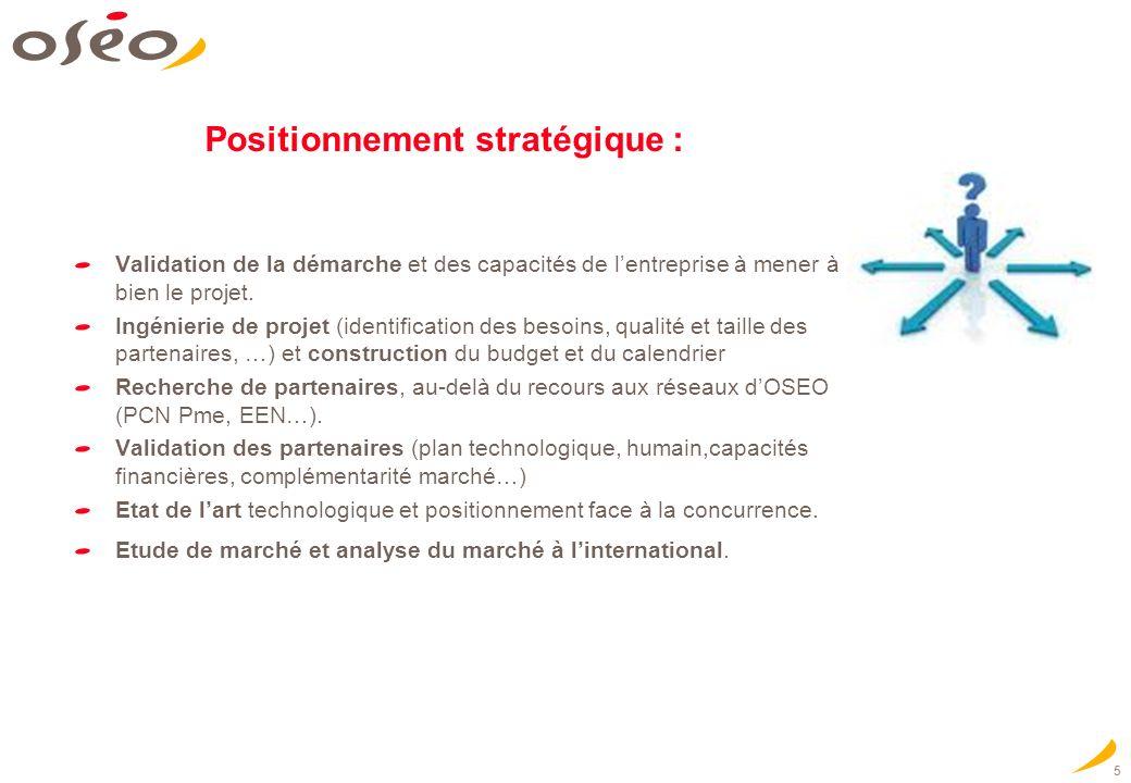 5 Positionnement stratégique : Validation de la démarche et des capacités de lentreprise à mener à bien le projet. Ingénierie de projet (identificatio