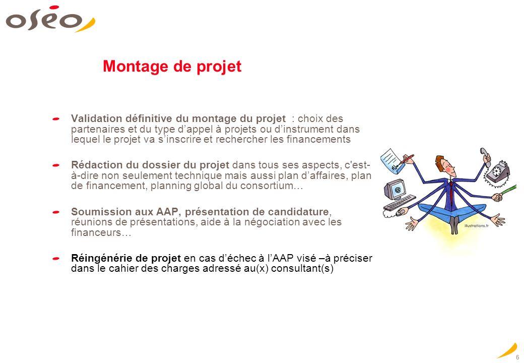 6 Montage de projet Validation définitive du montage du projet : choix des partenaires et du type dappel à projets ou dinstrument dans lequel le proje