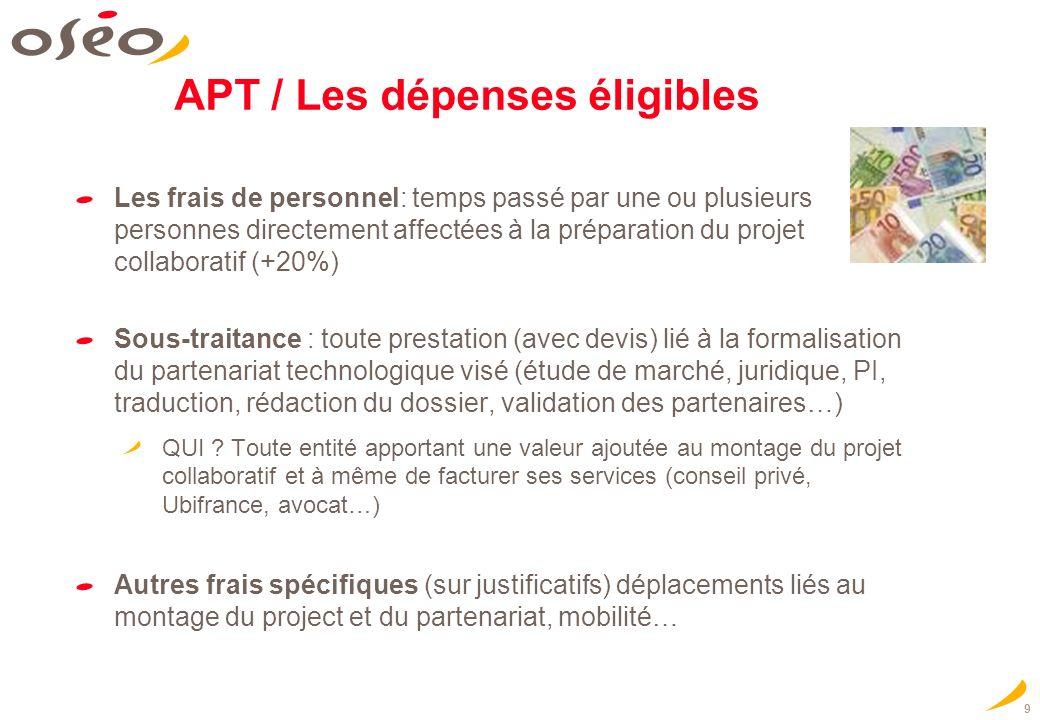 9 APT / Les dépenses éligibles Les frais de personnel: temps passé par une ou plusieurs personnes directement affectées à la préparation du projet col